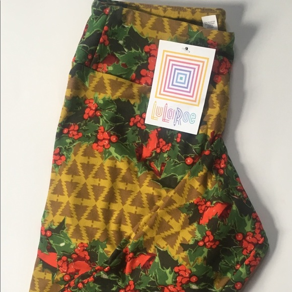 951d338189aad9 LuLaRoe Pants | Christmas Leggings Nwt Holly Berries | Poshmark